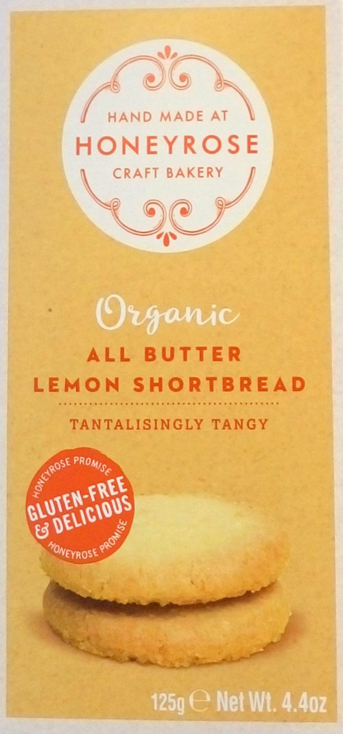 HONEYROSE All Butter Lemon Shortbread Organic & Glutenfree 125g