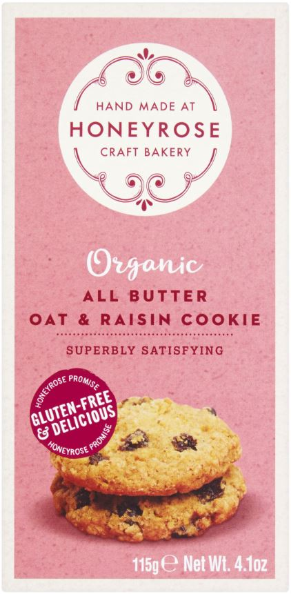 HONEYROSE All Butter Oat & Raisin Cookie Organic & Glutenfree 125g lo res