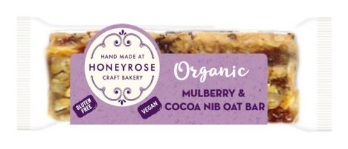 Mulberry & Cocoa Nib oat Bar gluten free and organic honeyrose bakery 55g