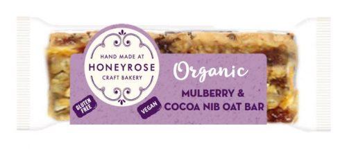 Mulberry & Cocoa Nib oat Bar gluten free and organic honeyrose bakery 55g